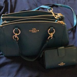 Teal Coach Purse and Wallet